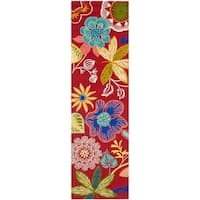 Safavieh Hand-Hooked Four Seasons Red/ Multicolored Polyester Rug - 2'3 x 10'