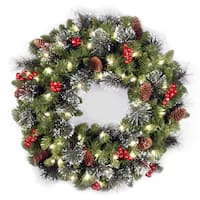24-inch Crestwood Spruce Wreath with Clear Lights