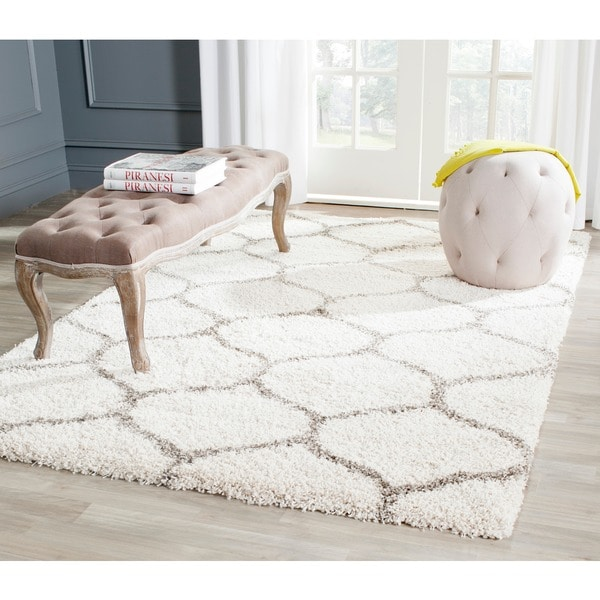 Safavieh Hudson Ogee Shag Ivory Background And Grey Rug 8