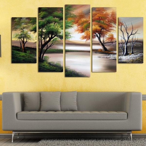 Designart New York City Skyline Panorama 5 Piece Wall: Changing Seasons' Large Gallery-wrapped Hand Oil Painting