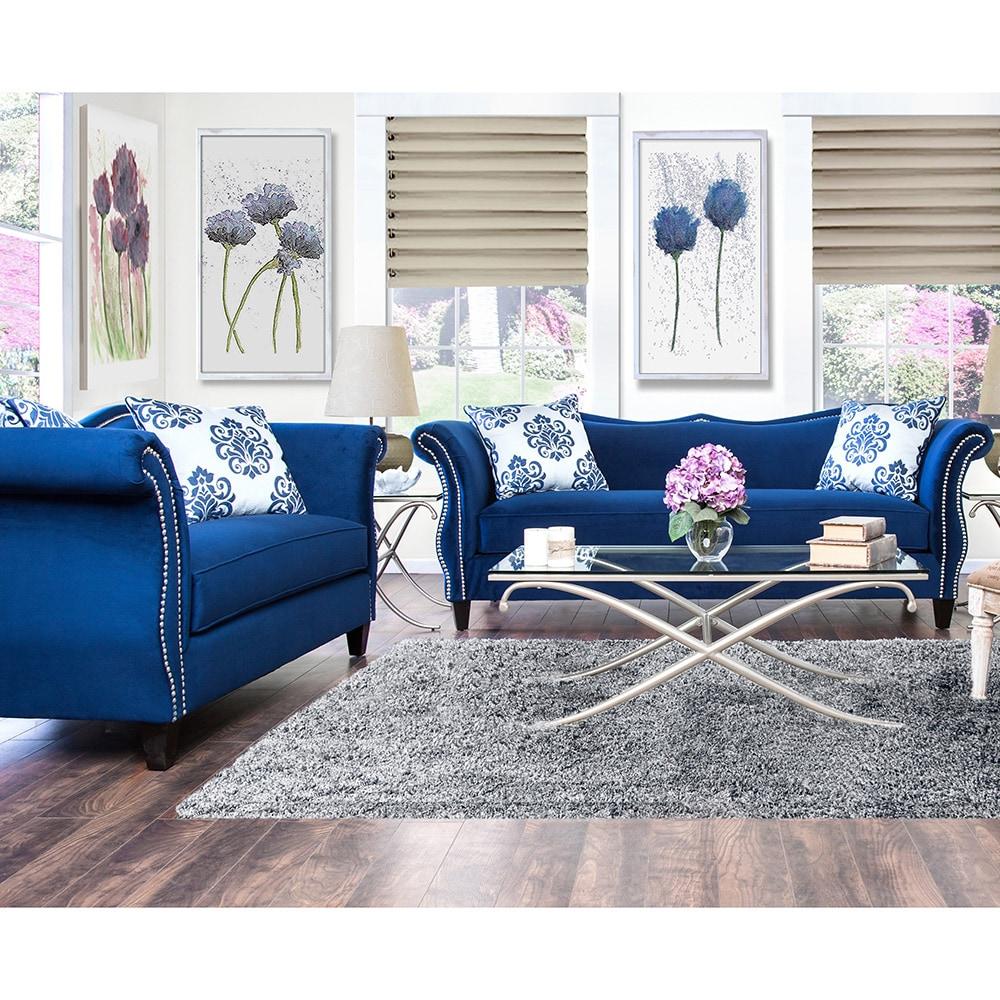 Furniture Of America Othello 2-piece Royal Blue Sofa Set