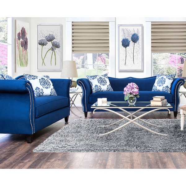 Furniture Of America Living Room Collections: Furniture Of America Othello 2-piece Royal Blue Sofa Set