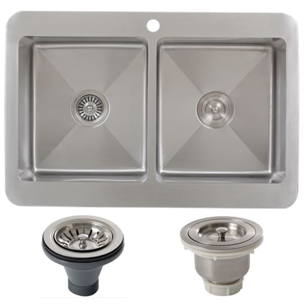 Inch Double Bowl Top Mount Kitchen Sink