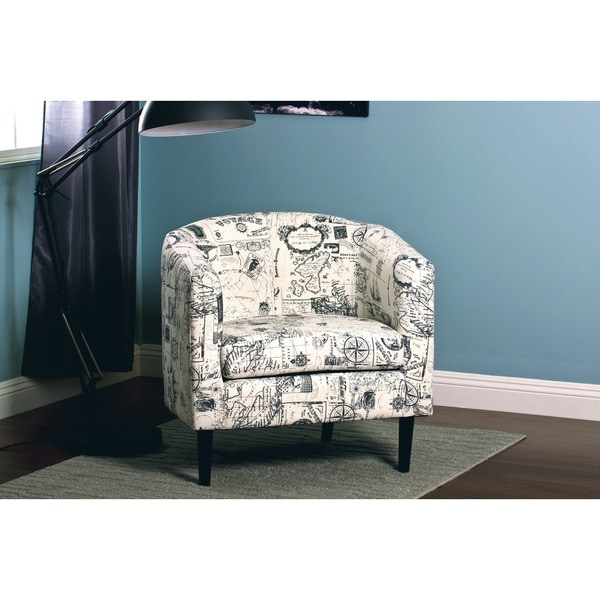 Jerry White Grey Print Accent Chair