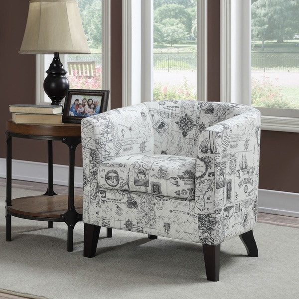 White Barrel Back Accent Chair with Printed Script Fabric ...