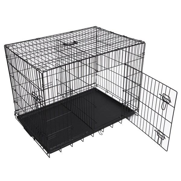 Folding Double Door Metal Dog Crate 16782483 Overstock