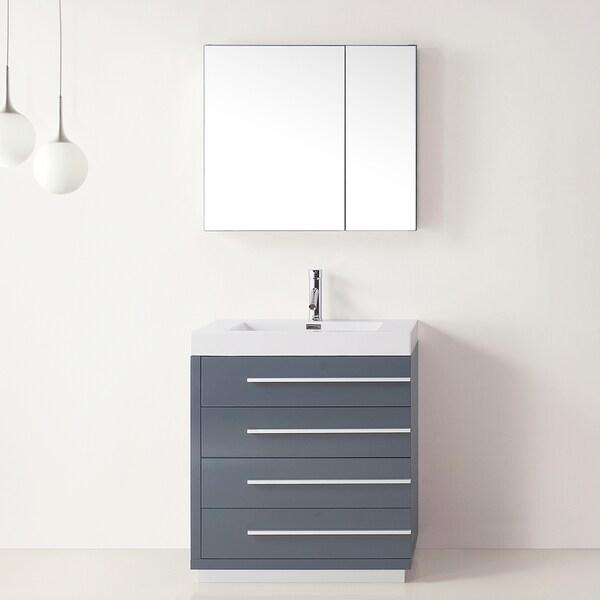 Virtu Usa Bailey 30 Inch Grey Single Sink Bathroom Vanity
