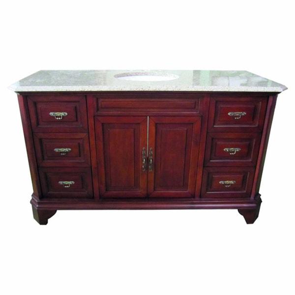 60 inch wide single sink bathroom vanity in brown - 60 inch bathroom cabinet single sink ...
