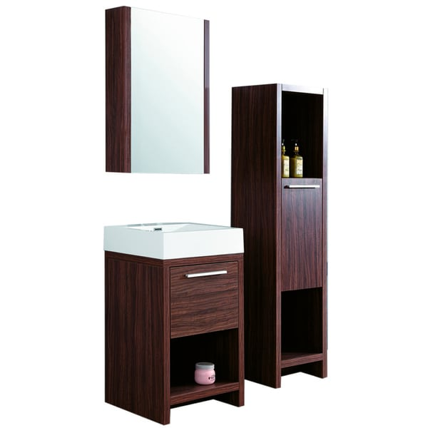 23.5-inch Wide Single Sink Bathroom Vanity in Brown ...