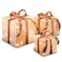 6-inch, 8-inch and 10-inch Assorted White Sisal Gift Boxes with 20, 20 and 35 Clear Indoor/ Outdoor Lights UL