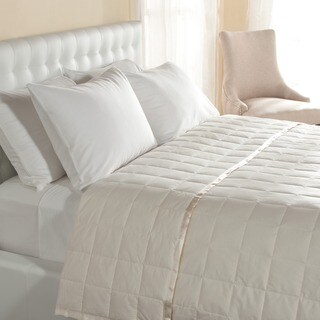 Lightweight Oversized Down Blanket with Satin Trim