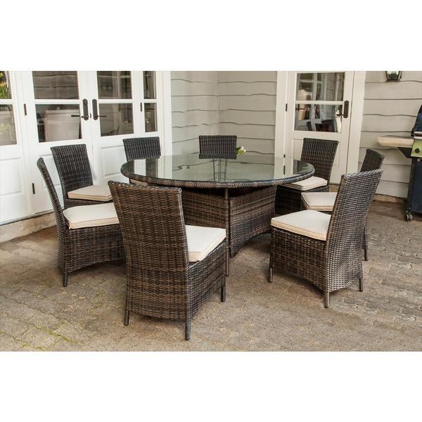 monte carlo 9 piece round dining set. Black Bedroom Furniture Sets. Home Design Ideas