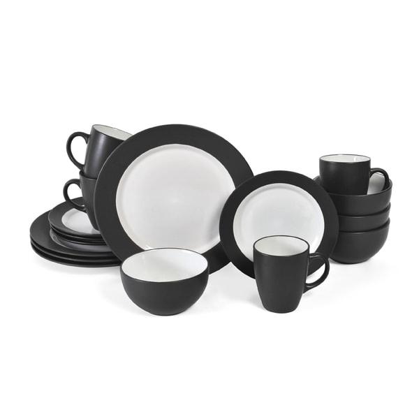 Pfaltzgraff Everyday 16 Piece Black White Dinnerware Set