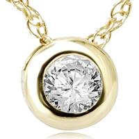 14k Yellow Gold 1/4ct Diamond Bezel-set Pendant Necklace