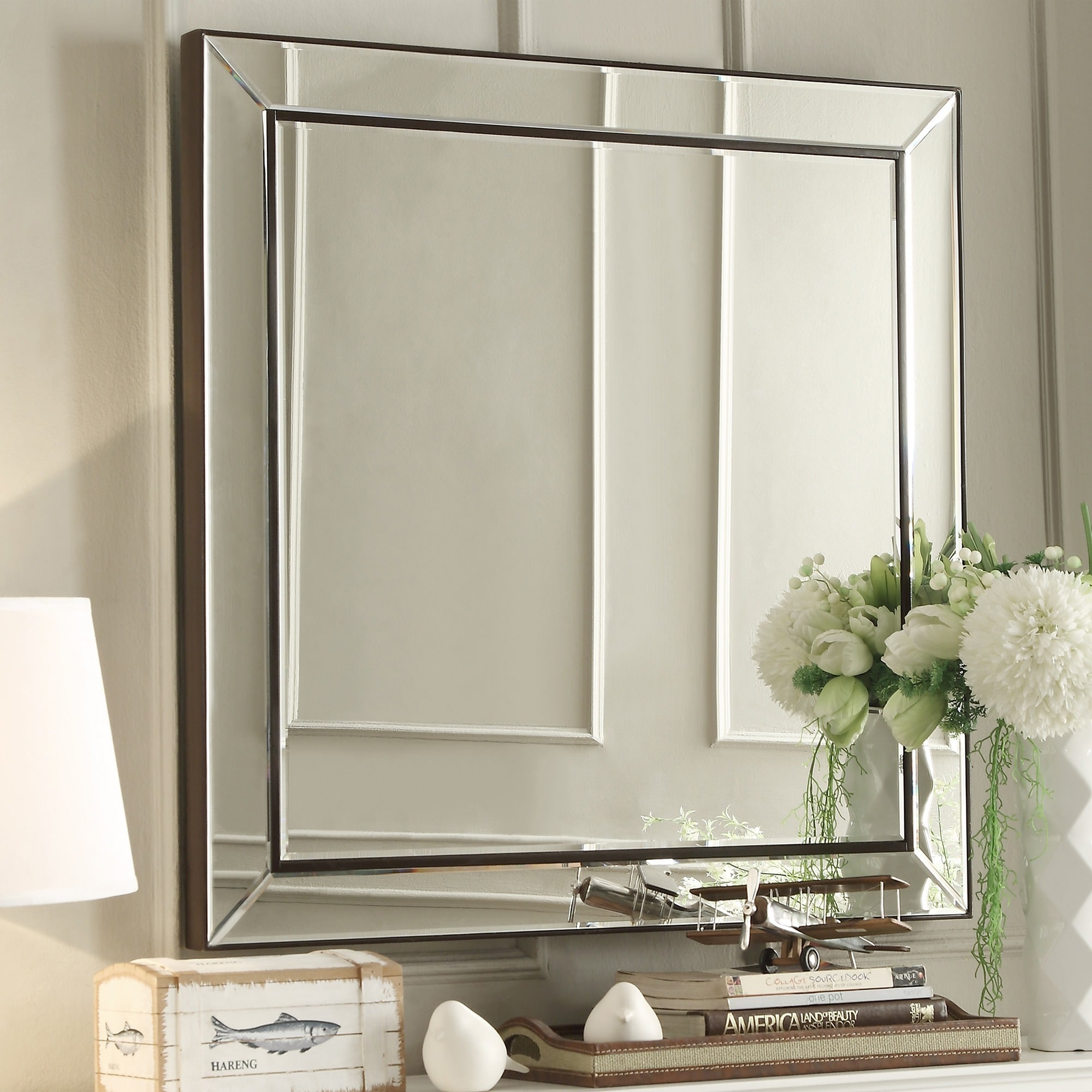 Overstock Mirrors: INSPIRE Q Brinkley Dark Brown Trim Mirrored Frame Square
