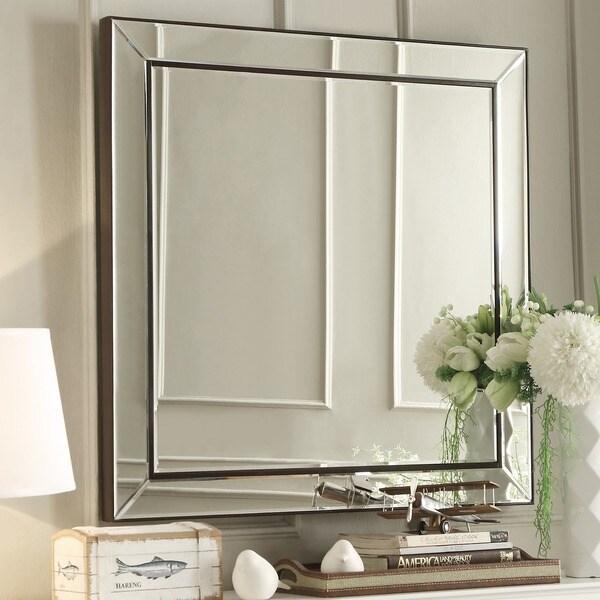 Inspire Q Brinkley Dark Brown Trim Mirrored Frame Square
