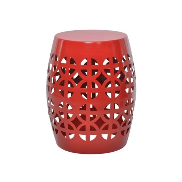 Artisan Red Garden Stool Side Table 16796118