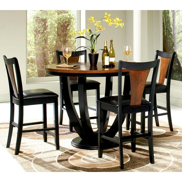 Cherry Dining Sets: Besancon Two-tone Black/Cherry 5-piece Counter Height