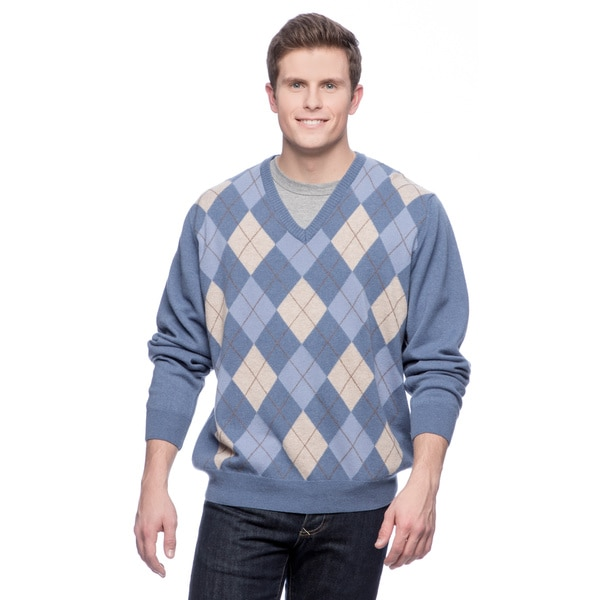 Men S Made In Italy Argyle Cashmere V Neck Sweater
