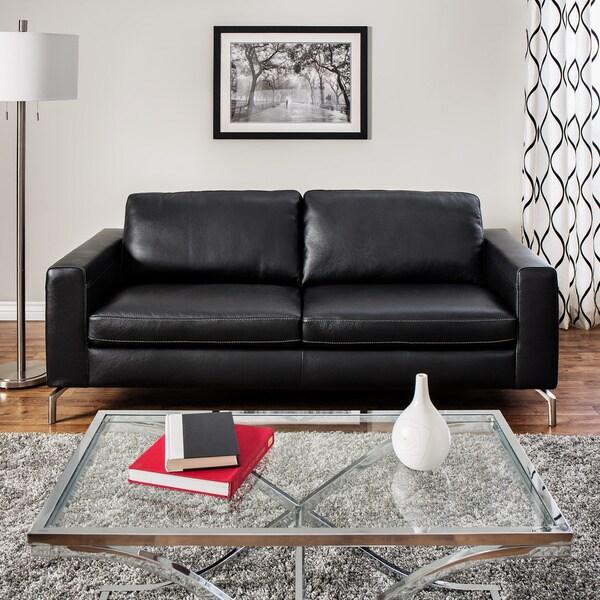 Natuzzi Rovigo Black Italian Leather Metal Leg Sofa