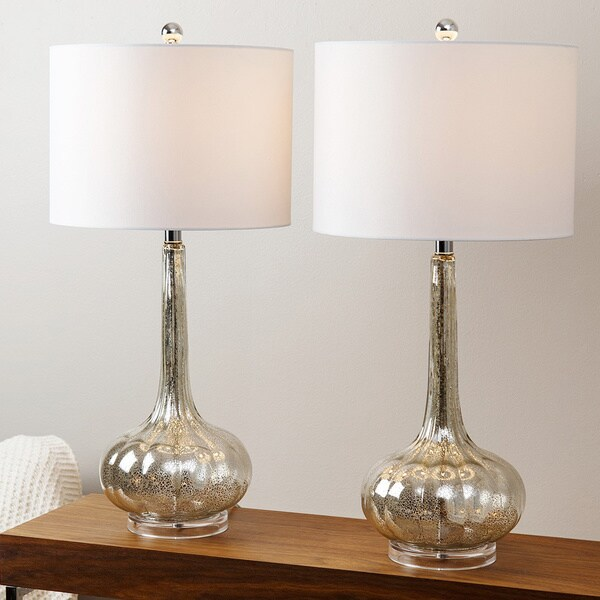 Abbyson Living Mercury Antiqued Glass Table Lamp Set Of 2