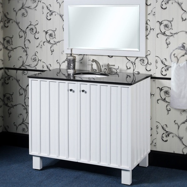 Black Granite Top 40-Inch Single Sink Bathroom Vanity in ...