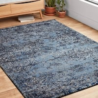 Vintage Blue/ Light Grey Abstract Distressed Transitional Area Rug - 9'2 x 12'7