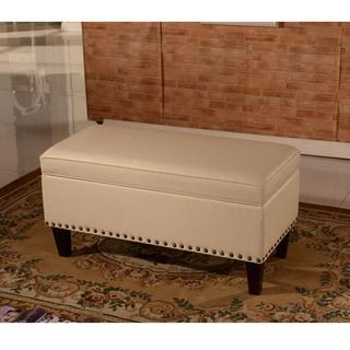 Luxury Comfort Classic Creamy White Tufted Storage Bench