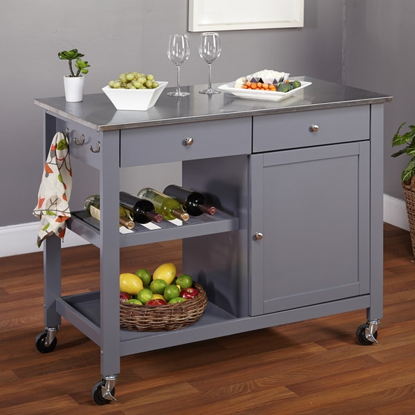 Stainless Kitchen Cart: Simple Living Columbus Grey Kitchen Cart With Stainless