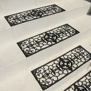 Rubber Cal Grand Black Stair Tread Rubber Mats Set Of 6