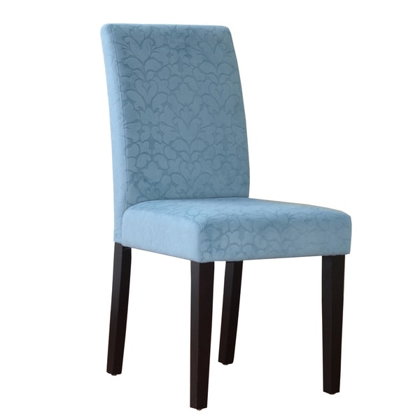 Tribecca Home Tufted Button Back Peat Microfiber Side: Oh! Home Malik Powder Blue Microfiber Parsons Chair