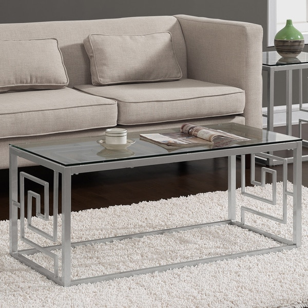 Aurelle Home Amanda Glass Top Rectangle Coffee Table: Greek Key Silver Coffee Table With Glass Top