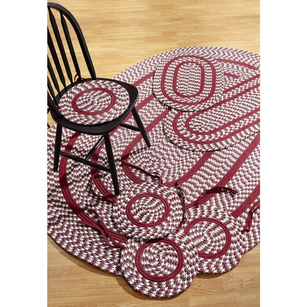 Crescent Braided Burgundy Indoor/ Outdoor 7-piece Rug Set