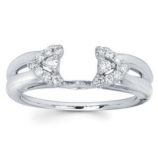 Annello 14k White Gold Round Cut Diamond Wrap Or Princess