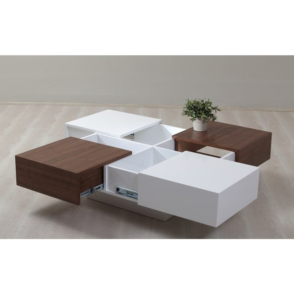 White Walnut Coffee Table: Milano White And Walnut 4-drawer Coffee Table