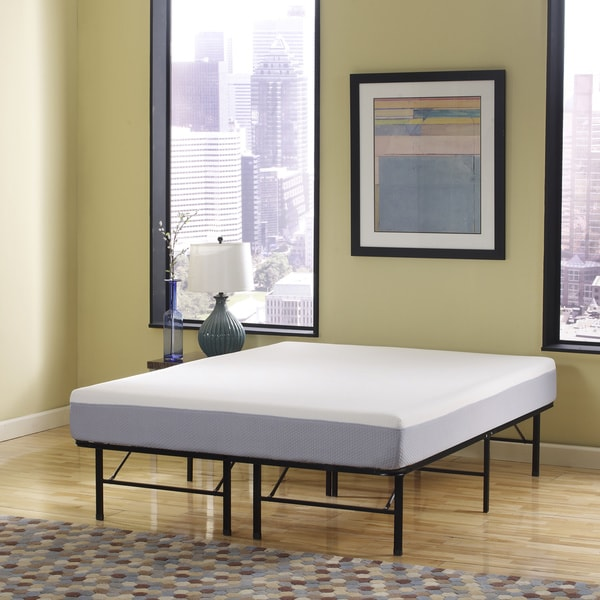 Sleep Sync 6 Inch Queen Size Memory Foam Mattress And Posture Support Platform Frame