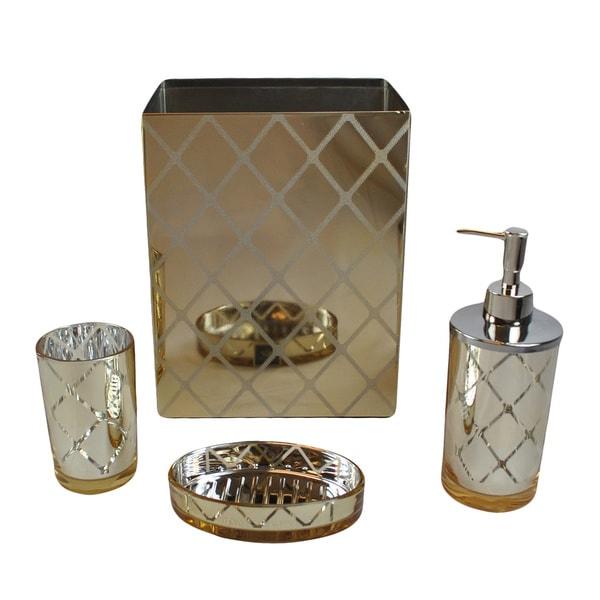 shiny gold bathroom accessory set mirrored 4 pc bath ensemble soap dish basket ebay. Black Bedroom Furniture Sets. Home Design Ideas