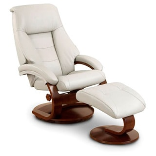 Contemporary Black Leather Recliner And Ottoman 14206898
