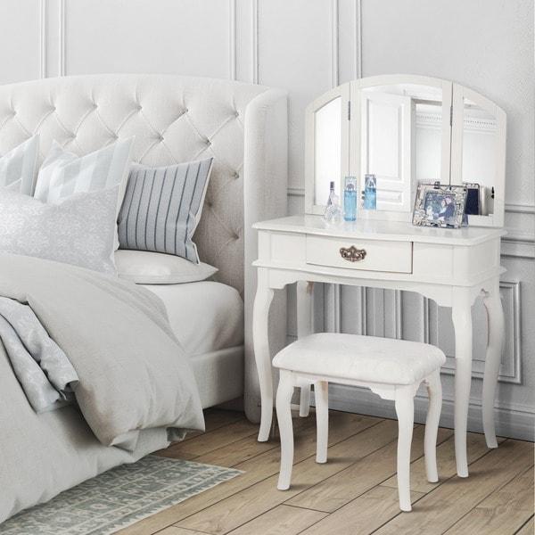 Furniture Of America Jade 2piece Solid Wood Vanity Table