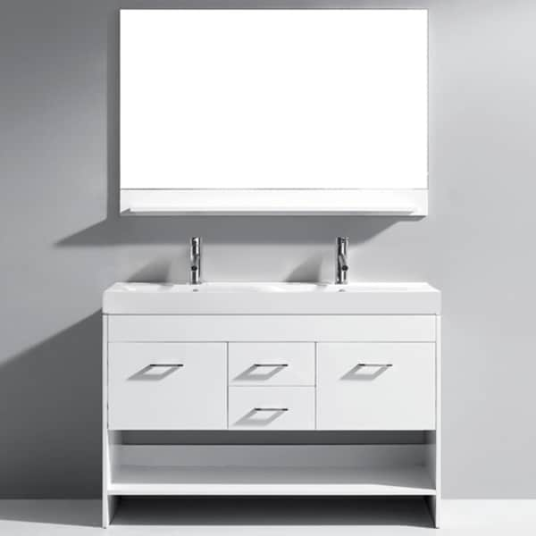Virtu usa gloria 48 inch white double sink bathroom vanity - 48 inch white bathroom vanity with top ...
