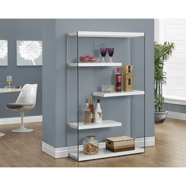 Glossy White Hollow-core Tempered Glass Floating Shelf