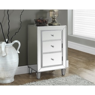 Brushed Silver Mirrored 29 Inch Accent Table