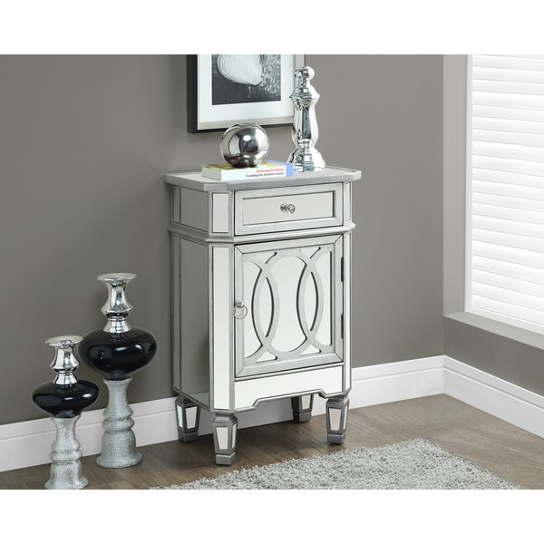 Mirrored Accent Table Modern Silver Cabinet Nightstand