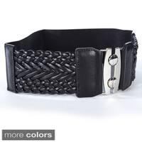 Women's Wide Braided Stretch Buckle Fashion Belt