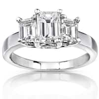 Annello by Kobelli 14K White Gold 2 7/8ct TGW Three Stone Emerald Cut Moissanite Engagement Ring (HI, VS)