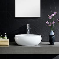 Fine Fixtures White China Oval Modern Vessel Sink
