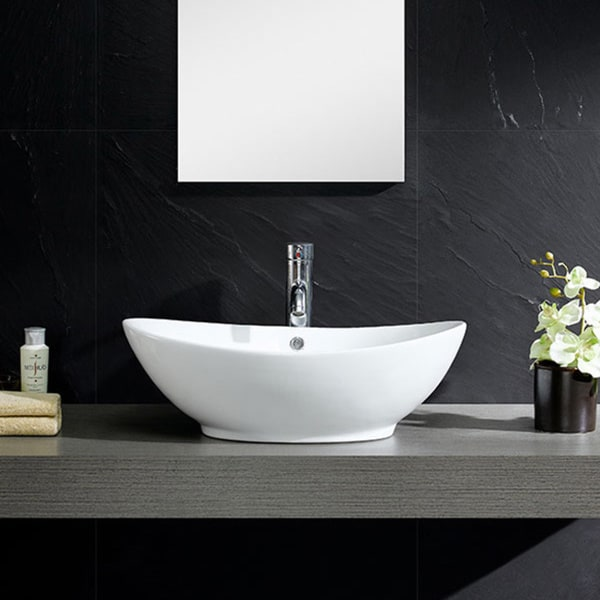 Fine Fixtures White Vitreous China Oval Vessel Sink 16897618 Overstock Com Shopping Great