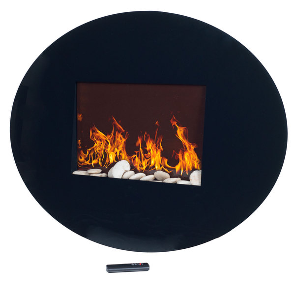 Northwest Black Oval Glass Panel Electric Fireplace With