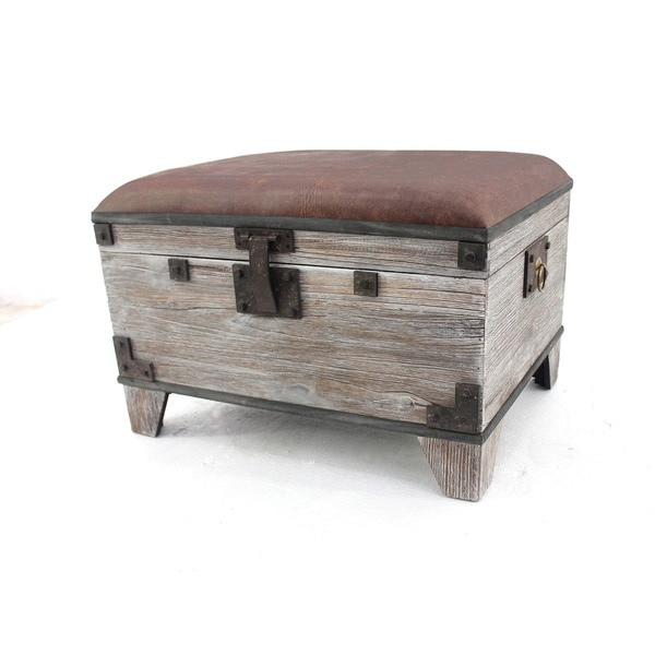 Distressed Ottoman Coffee Table: Distressed Wooden Storage Stool/ Ottoman