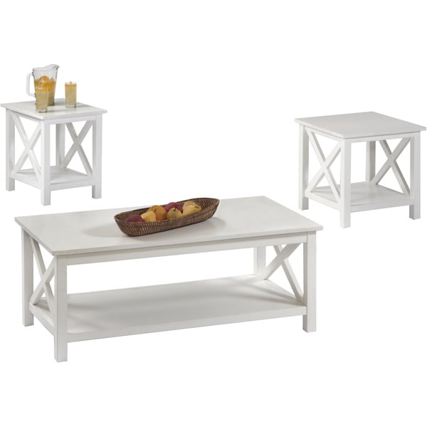 Seascape i textured white 3 piece table set 16903162 - Three piece living room table set ...
